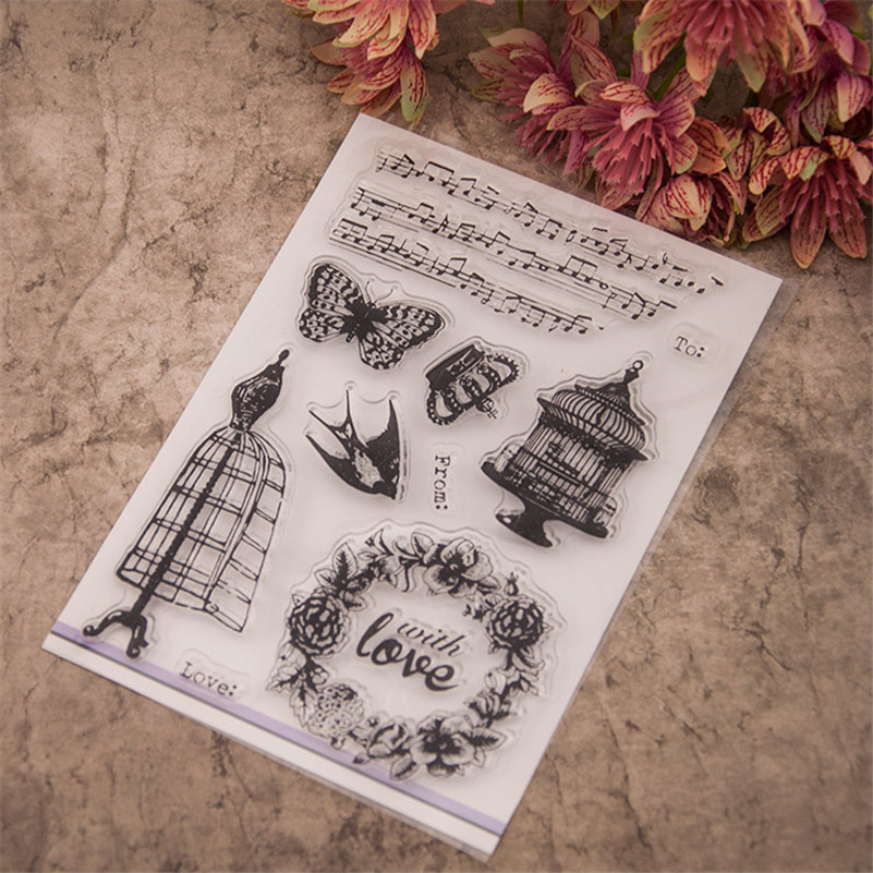 New arrival aboutmusic note and love  design for diy scrapbooking clear stamps christmas gift paper card photo album RM-144 140 page note paper creative fruit design