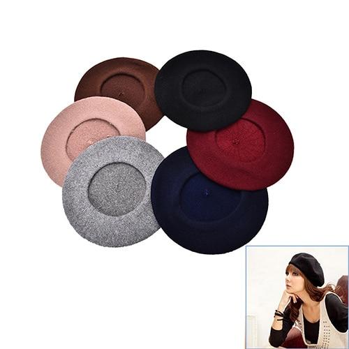 1 Stück 6 Farben Beret Beanie Geschenke Frauen Vintage Winter Berets Hat Wollmischung Pillbox Hut Clear-Cut-Textur