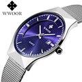 Super delgado ocasional wwoor acero inoxidable analógico de pulsera para los hombres de negocios de primeras marcas reloj de cuarzo relogio masculino masculino reloj