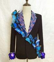 2015 New Male Dancer Singer Rhinestone Blue Butterfly Jacket Nightclub Dj Custom Clothing For Mens Outerwear