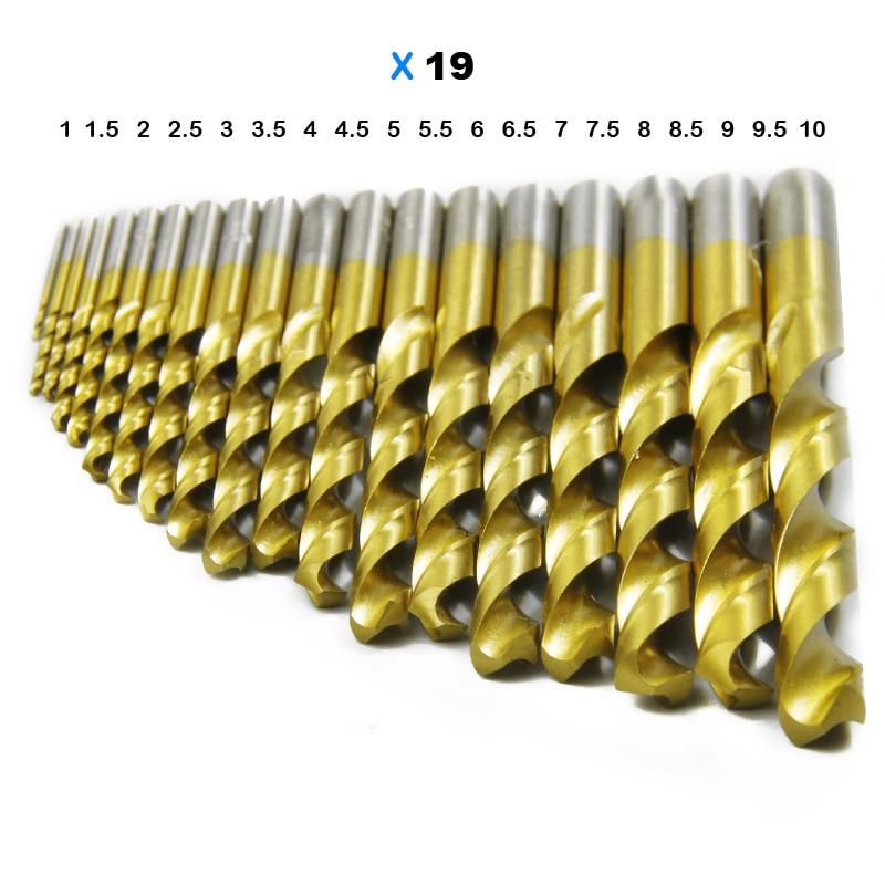 Set di punte per trapano HSS TASP 19 pezzi per metallo e legno 1,0 ~ - Punta da trapano - Fotografia 5