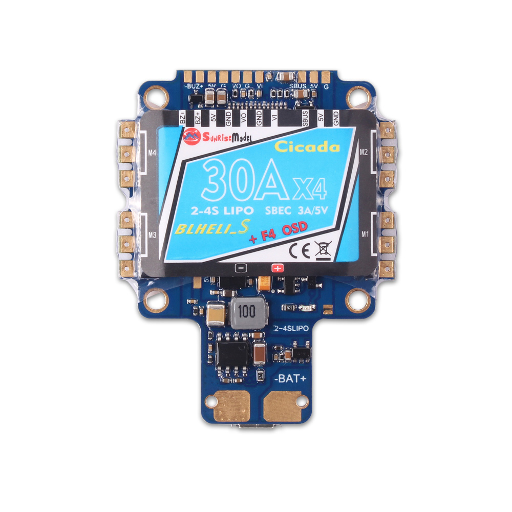 F4S 30A Blheli_S Dshot 4 in 1 ESC AIO F4 OSD Flight Controller w/ BEC Current Sensor original emax f4 magnum all in one fpv stack tower system f4 osd 4 in 1 blheli s 30a esc vtx frsky xm rx