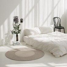 Скандинавские волокна веревки ручного плетения круглый ковер абсорбирующий для гостиной спальни ковер ручной работы машинная стирка домашний декоративный коврик