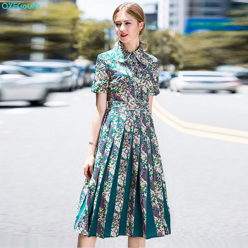 QYFCIOUFU High Quality New 2018 Fashion Designer Runway Dress Women's Short Sleeve Floral Print Vintage Mid Calf Long Dress