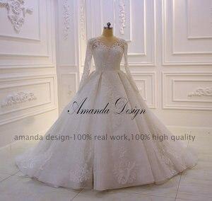 Image 2 - Amanda Design nikah elbisesi Full Sleeves Lace Appliqued Crystal Wedding Dress