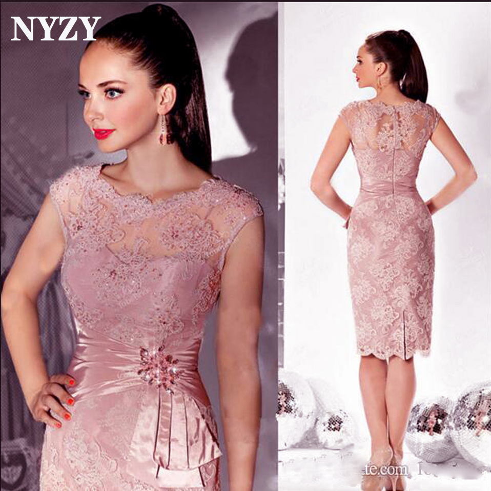 Pink Lace Cocktail Dresses 2019 NYZY C161 Knee Length Wedding Party Dress Homecoming Graduation