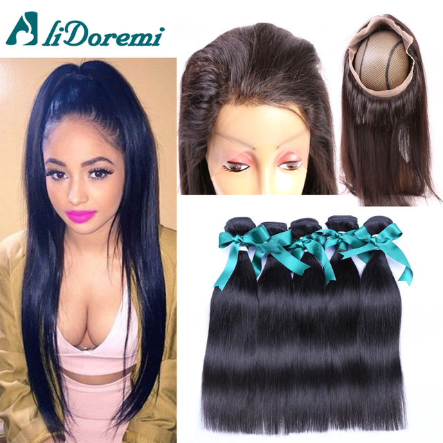 7A Malaysian Straight Hair With 360 Lace Frontal Closure 3 Bundles Straight Malaysian Virgin Hair Bundles With Frontal on sale