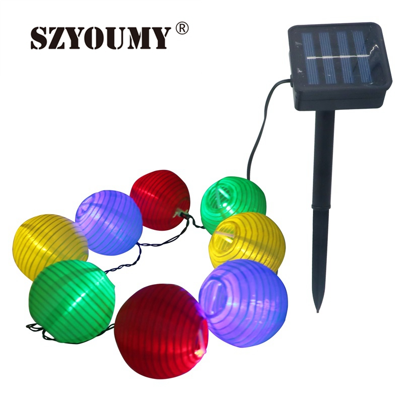 цена на SZYOUMY 4.8M 20 LEDS 6M 30 LEDS Garden Coloured Solar String LED Hanging Lantern Lights For Christmas New Year Decoration Hot