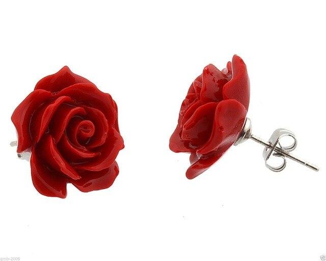 Bijoux De Modus 12mm Corail Rouge Rose Fleur 925 Sterling Boucles