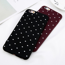 USLION Wine Red Ploka Dots Phone Case For iPhone 6 6s Plus Wave Point Back Cover Soft TPU Cases For iPhone X 8 6S 7 Plus 5 5S SE