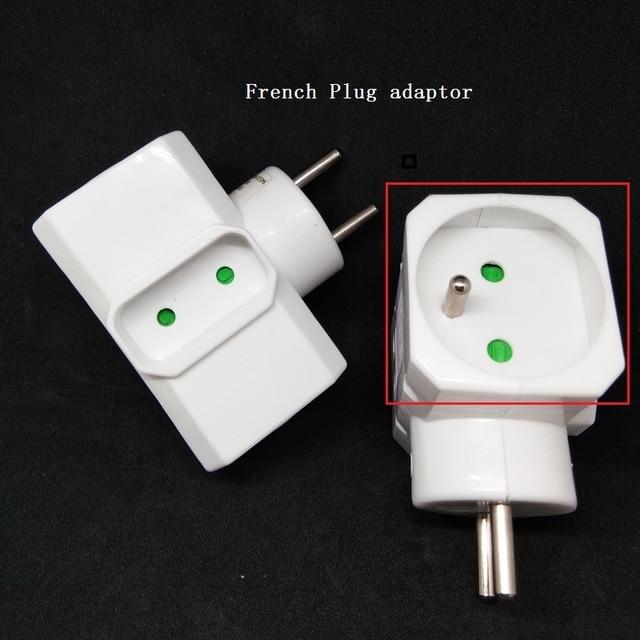 Enchufe adaptador de corriente de 16A, convertidor de enchufe francés de 1 a 3, enchufe eléctrico blanco extendido