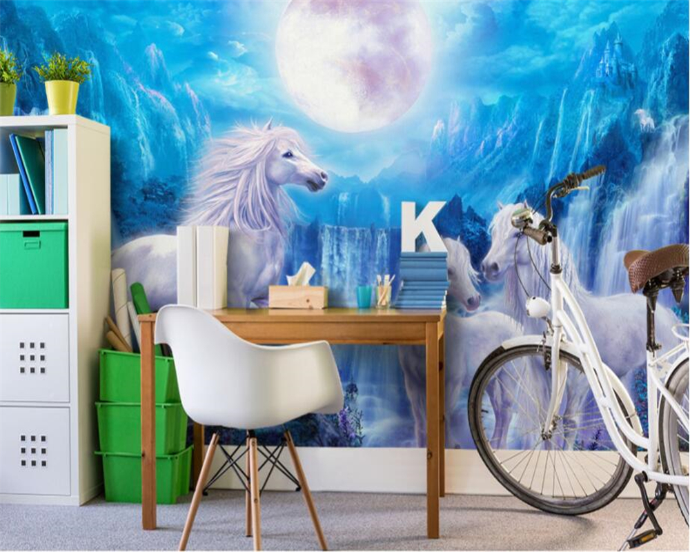 Beibehang custom fashion wallpaper blue sky waterfall horse moon childrens room backgrou ...