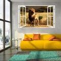 2016 Nuevo Producto 3D Windows DecorAfrican León Etiqueta de La Pared Home Art Wallpaper Mural Regalo Hogar Regalo Calcomanía