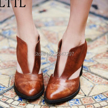 Newest both side cut out women ankle boots pointed toe women's shoes high heels slip on motorcycle boots drop shipping
