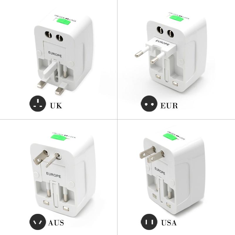 Universal Worldwide Adapter Electric Socket AU UK US EU Plug Adaptor Travel Wall Charger AC Power Option 2 USB Charging Port