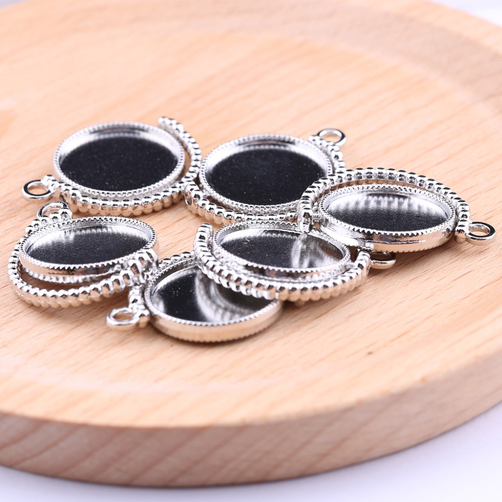 цены onwear 10pcs double side rotating cabochon base 20mm dia blank pendant bezel tray diy cameo settings for jewelry making