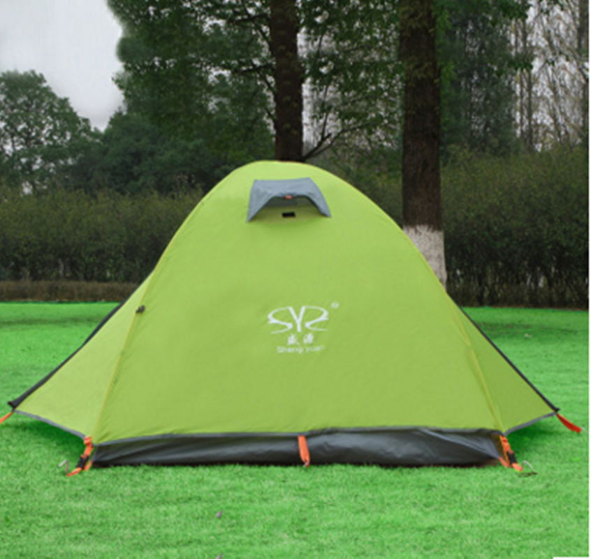 Фотография Outdoor professional camping windproof waterproof portable 2 person ultra-light double pole aluminum pole 2 layer 2 door tents