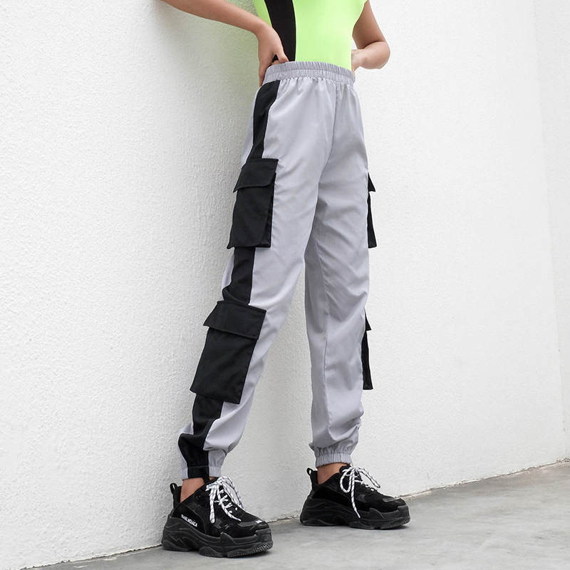 Streetwear Cargo   Pants   Women Casual Joggers Pocket Splicing High Waist Loose Female Trousers Ladies   Pants     Capri   Woman Sweatpants