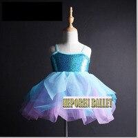 Kids Shiny Sequin Top Blue Purple Ballet Tutu Dress, Girls Balet Dress Ballet Underwear Tutu De Ballet Dance Leotard Girls HB809