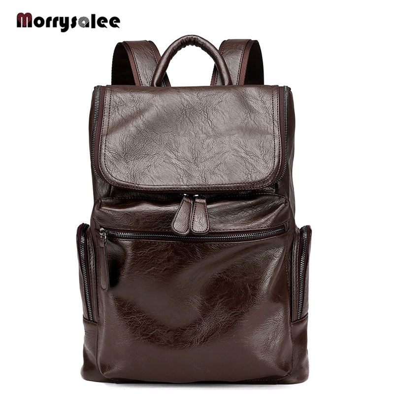 2018 new men s fashion backpack Korean general leather casual backpack laptop bag