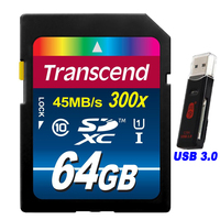 High Speed Transcend 16 32 64 GB SD Card 300x Class 10 UHS I Flash Memory Card With USB 3.0 Card Reader For Camera / Tablet PC