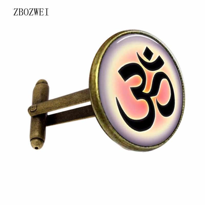 1 Cặp Của Stylish Trắng Phật Giáo Glass Zen Om YOGA Jewelry Hồi Giáo Thiền Mandala Cổ Điển Cổ Áo Chất Lượng Cao Khuy Măng Sét