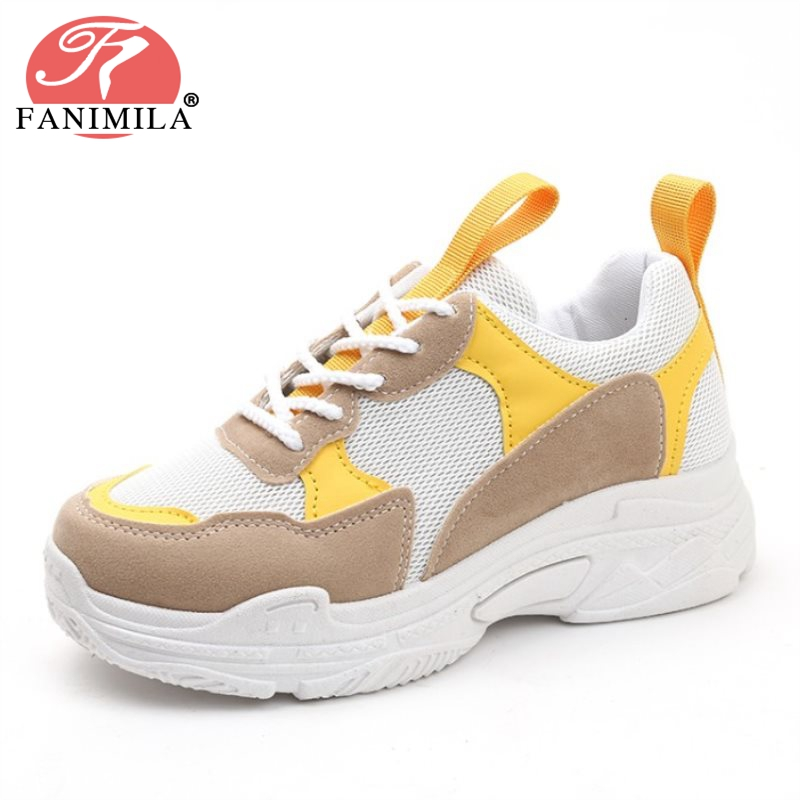 FANIMILA Fashion Women Thick Bottom Shoes Breathable Lace Up Colorblock Sneakers Daily Trifle Shoes Women Footwear Size 35-40