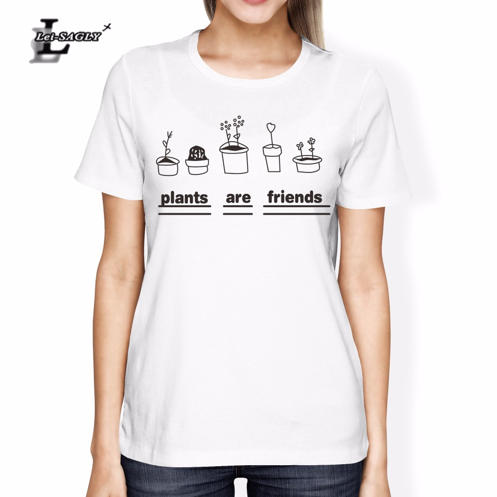 Lei-SAGLY Plants Are Friends Letter Printed Women Tee Shirt Super Soft Unisex Worldwide Ship Vegan Shirt Trees Gardener T-Shirt