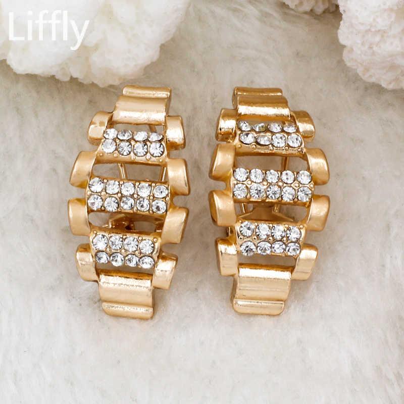 2019 Eropa dan Amerika Fashion Wanita 18 Emas Perhiasan Set Crystal Kalung Cincin Anting-Anting Perhiasan Pengantin Pernikahan Aksesoris