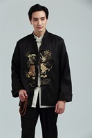 Shanghai Story Long Sleeve Chinese Traditional Clothing colorful dragon embroidery Chinese Jacket For Man