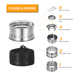 Image 5 - TOMSHOO Portable Folding Windproof Wood Burning Stove Compact Stainless Steel Alcohol Stove Outdoor Camping Hiking Backpacking