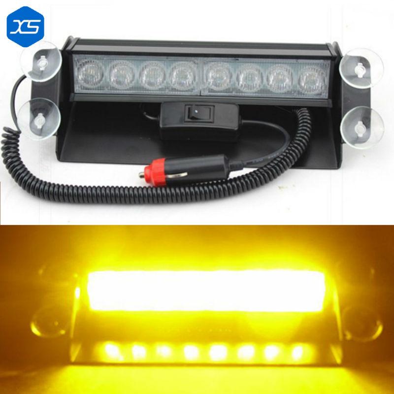 Automobile 8W 8 LED Car Police Blasting Flashlights Car Traffic Warning Lamp Red White Yellow For Ambulance,Blue Flashing Light