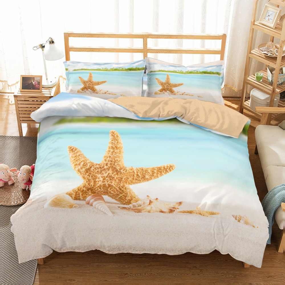 トロピカルビーチヒトデシェル海洋動物寝具セット 3 ピースと 2 枕シャムス 100% マイクロファイバー黄金布団カバーセット