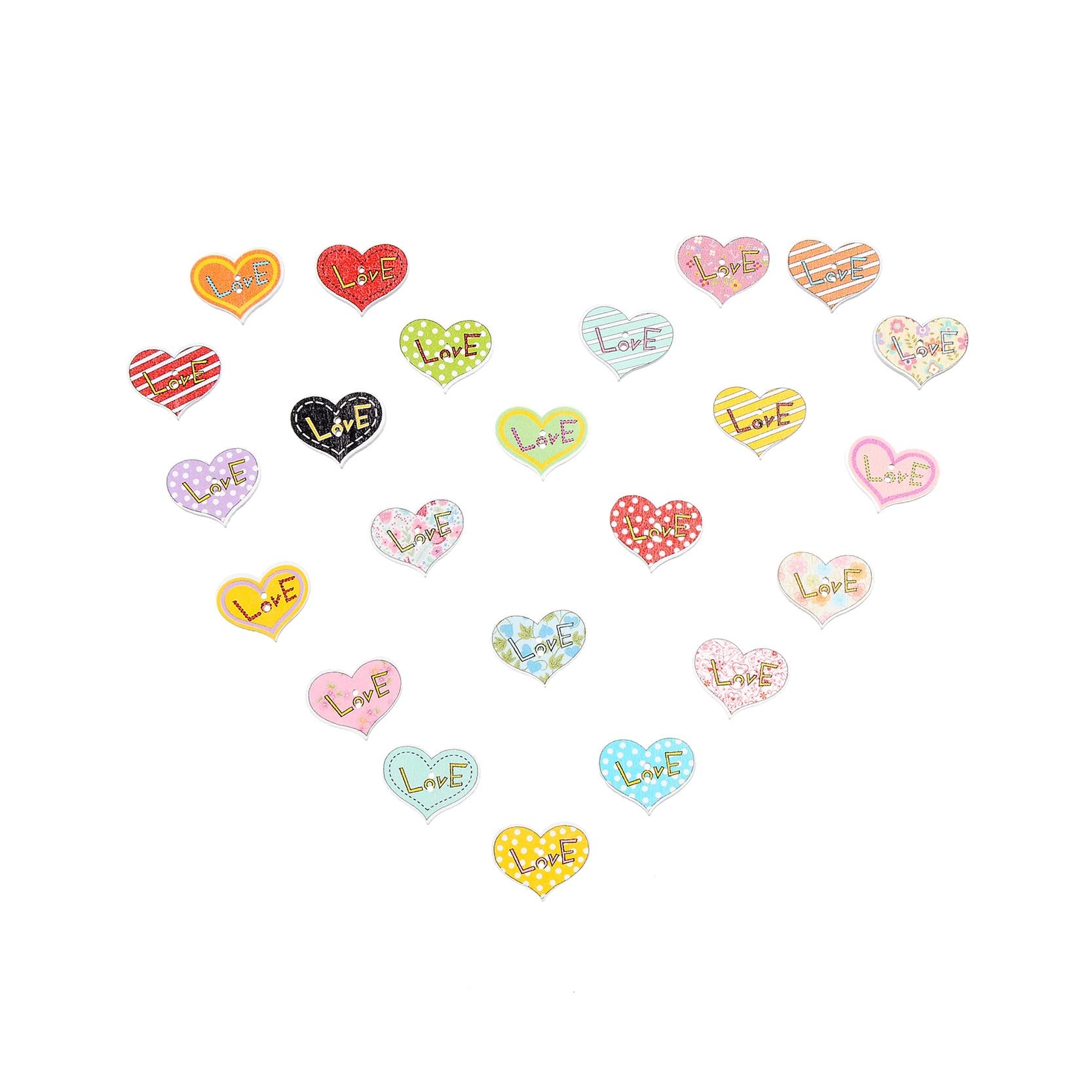 ツ)_/¯50 piezas 25*20mm mezclado Multi Color en forma de corazón ...