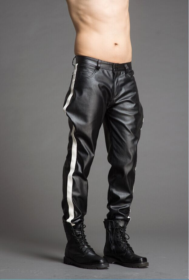 New men's clothing Hair Stylist leather pants