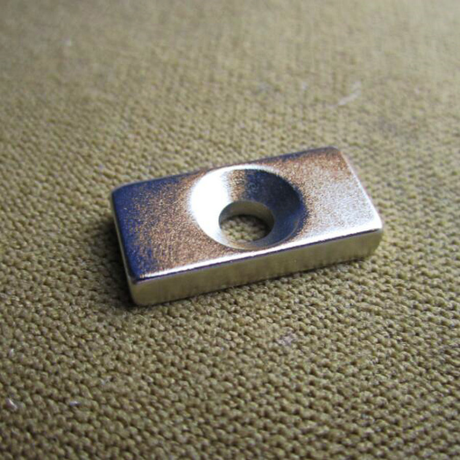 10pcs Magnetic Super Strong Block Magnets Silver Color 20x10x4mm Hole 4mm Neodymium N50 20x10x4mm 20*10*4 -4mm ledron strong silver