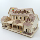 Children DIY puzzle toy house 3d small sail boat educational kids gift games assemble wood building ferry model wooden toys ship