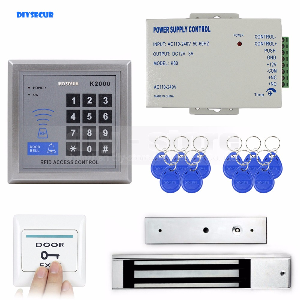 DIYSECUR Full Complete 125KHz Rfid Card Reader Keypad Door Access Control Kit + 280KG Magnetic Lock diysecur waterproof 125khz rfid card reader access control 280kg waterproof electric magnetic lock access control security kit