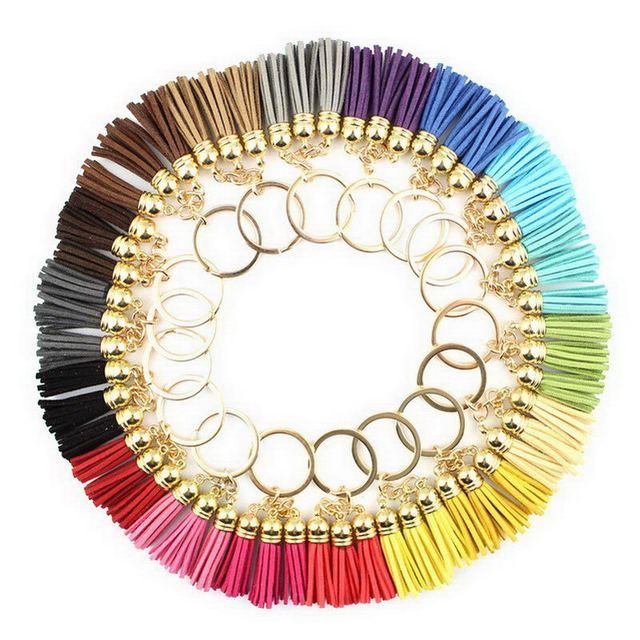 Leather Velvet Carabiner Tassel Keychain 19 Colors