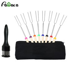 10 Pcs/set BBQ Forks Camping Campfire Stainless Steel Wooden Handle Telescoping Barbecue Roasting Fork Sticks Skewers