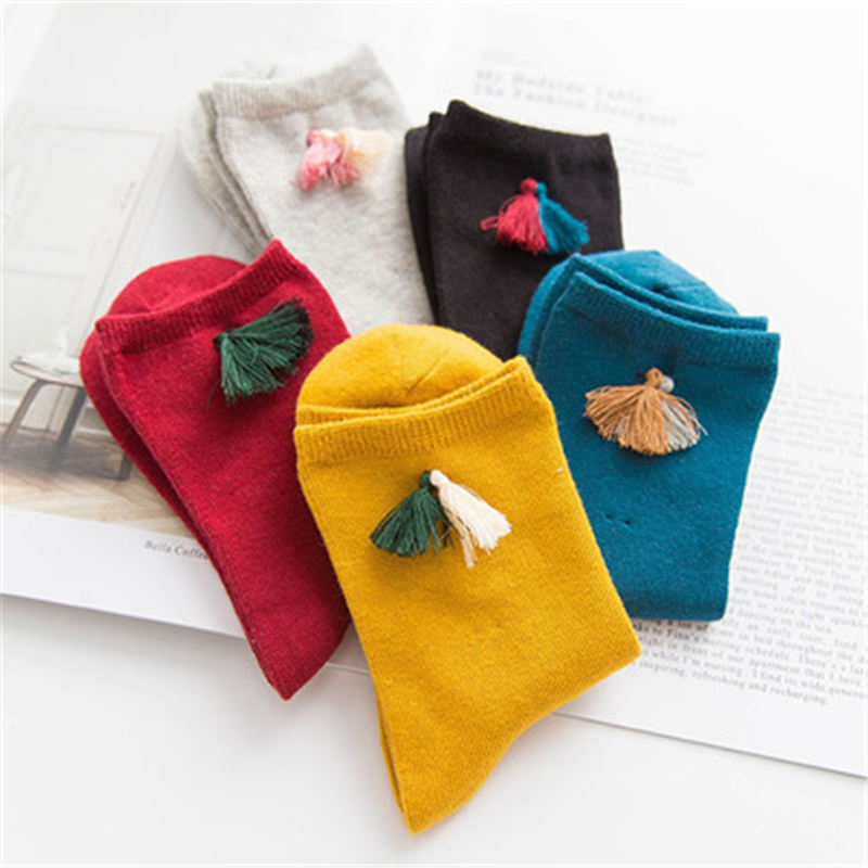 The new cotton ladies socks Joker tassels decorated solid color socks women wonderful 4 color optional good quality affordable