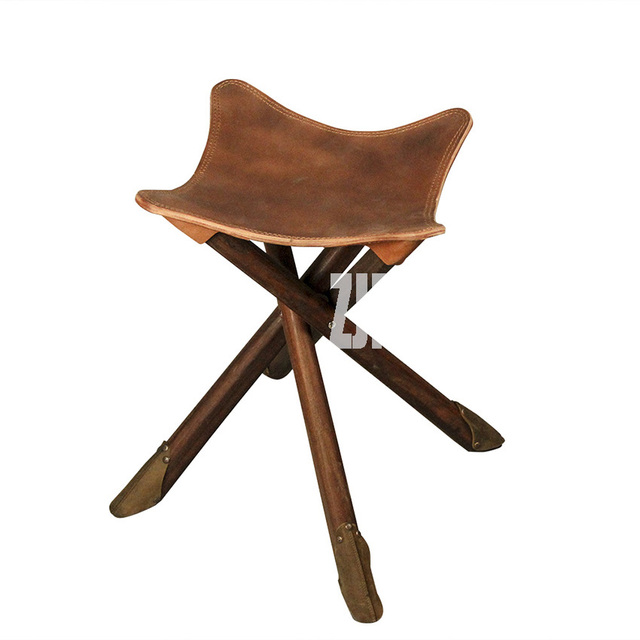 handmade wooden chairs discontinued dining room retro portable foldable fishing chair cowhide 100 genuine leather wood rectangle beach
