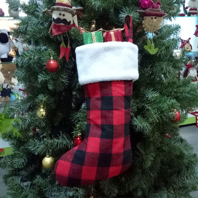 Buffalo Check Christmas Decor.Us 4 95 28 Off Black Red Plaid Christmas Stocking With White Faux Fur Cuff Buffalo Check Socks For Holiday Christmas Decorations In Stockings Gift