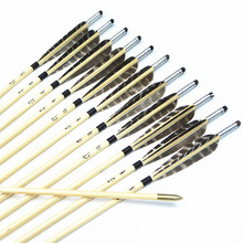12pcs Handmade 33″ colorful Turkey feathers silver nock Featured Wooden Arrows with Copper Point for Shooting Recurve bow