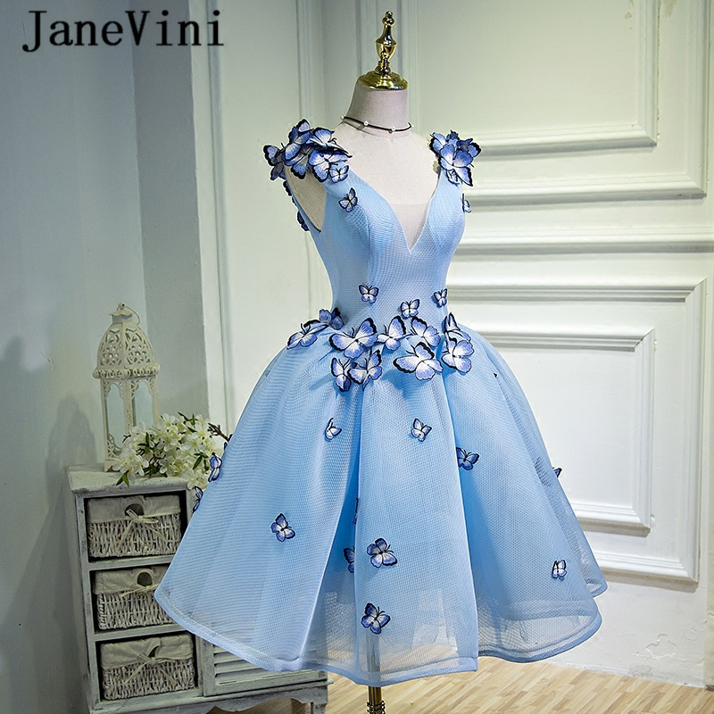 JaneVini Beautiful Stereoscopic Butterfly Pattern Tulle Short   Bridesmaid     Dresses   A Line Deep V Neck Backless Vestidos Para Prom
