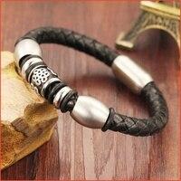 Chinese Knot Mens Leather Bracelets 2015 Leather Bracelet Men Wristband Charm Bracelets Bangles Braclet Male Pulseras