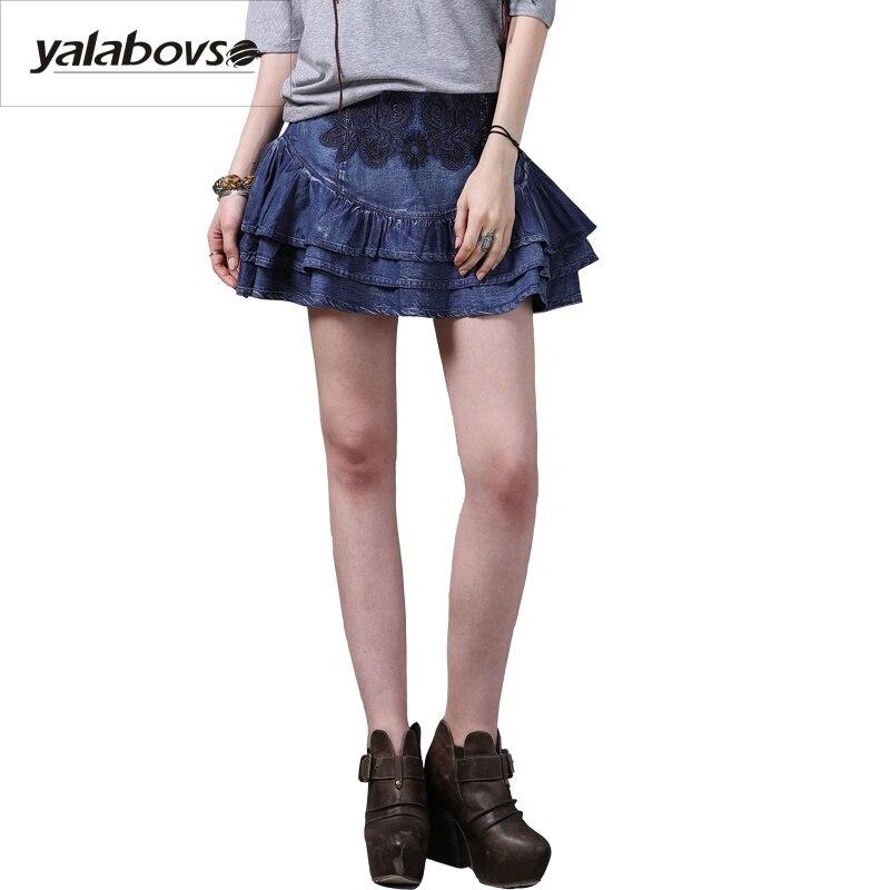 Yalabvso 2017 angleterre styles nouveau Vintage Denim été jupe femme coton une ligne broderie jupe pour femme A50-x2210 Z20
