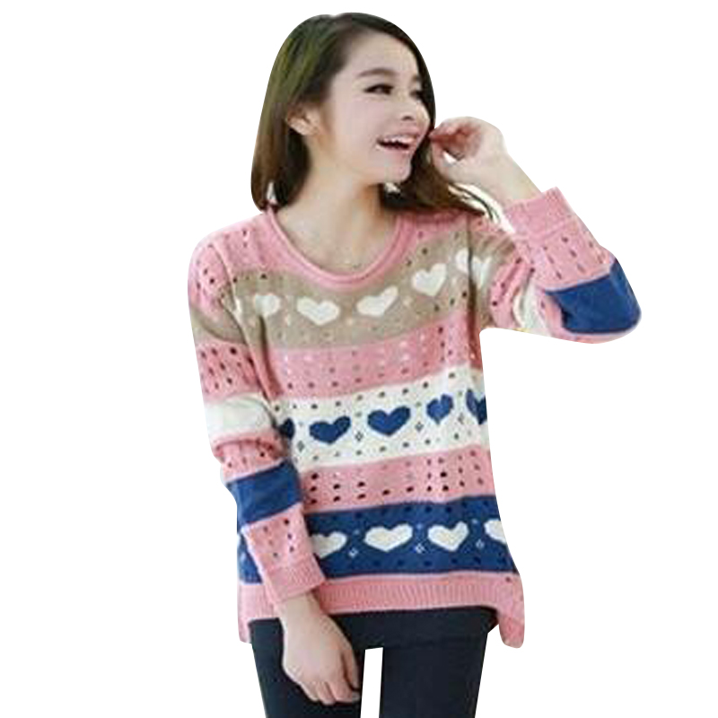 2016 New Sweater For Women Fashion Love Printed Sweaters Hearts Stripe Knitted Crochet Pullover  Plus Size