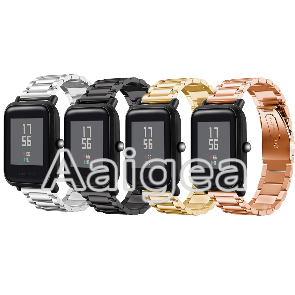 Stainless Steel WatchBand Strap for Xiaomi Huami Amazfit Bip BIT PACE Lite Youth Smart Watch Luxury Replacement Metal Wrist band 20mm milanese loop stainless steel watchband for xiaomi huami amazfit bip bit pace lite youth smart watch band wristband strap