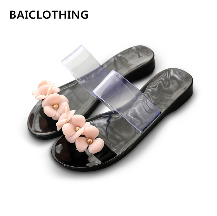 BAICLOTHING women cute transparent crystal jelly sandals shoes lady cool pink beach flip flops female flower casual slippers 2016 new color crystal jelly women sandals female women flip flops women slippers beach sandals